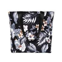 Large Floral Beach Tote Bag Water Resistant Shoulder Bag for Gym Picnic Travel Shopping Bags Foldable Handbag