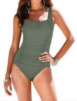 Mycoco Women's Shirred One Piece Swimsuit Tank Bathing Suits Tummy Control Monokinis