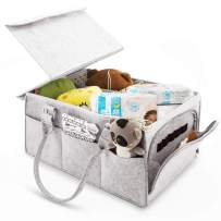 Baby Diaper Caddy Organizer With Dust Cover and Changeable Compartment, Portable Nursery Toy Storage Basket Large Diaper Tote Baby Wipes Bag with zipper Multi-Purpose Storage Bag for Car Travel (Gray)