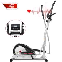 FUNMILY Elliptical MachineTrainer Indoor Eliptical Exercise Equipment Compact Machine with Digital Monitor and Pulse Rate Grips for Home/Office/Gym Workout