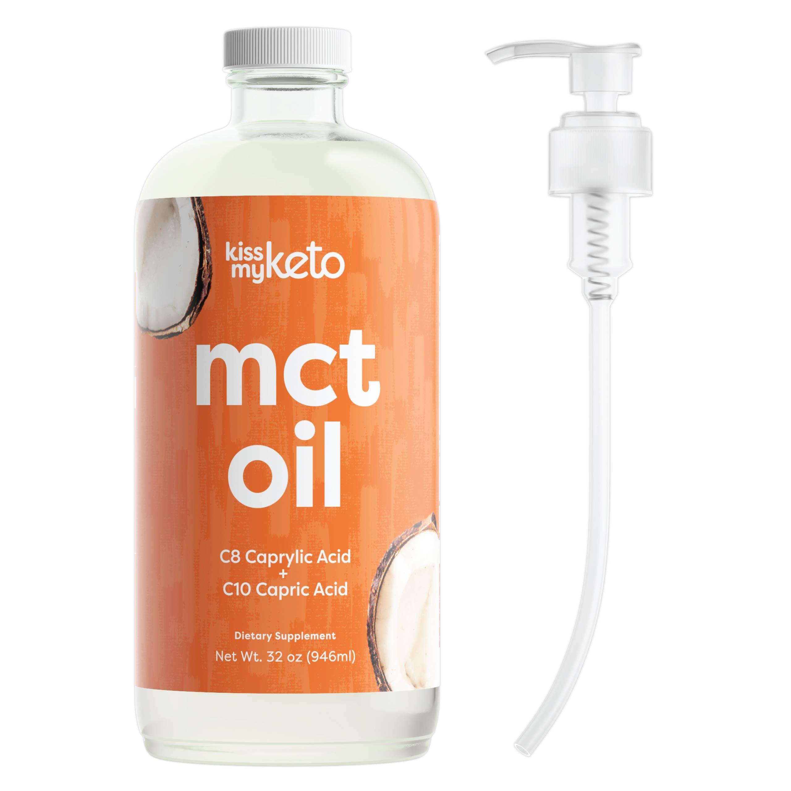 Kiss My Keto MCT Oil 32 oz — Premium MCT Oil C8 & C10 + Dosing Pump   Coconut Oil Medium Chain Triglycerides from Sustainable Non-GMO Coconuts   for Keto Coffee & Tea, Salads, Keto Shakes