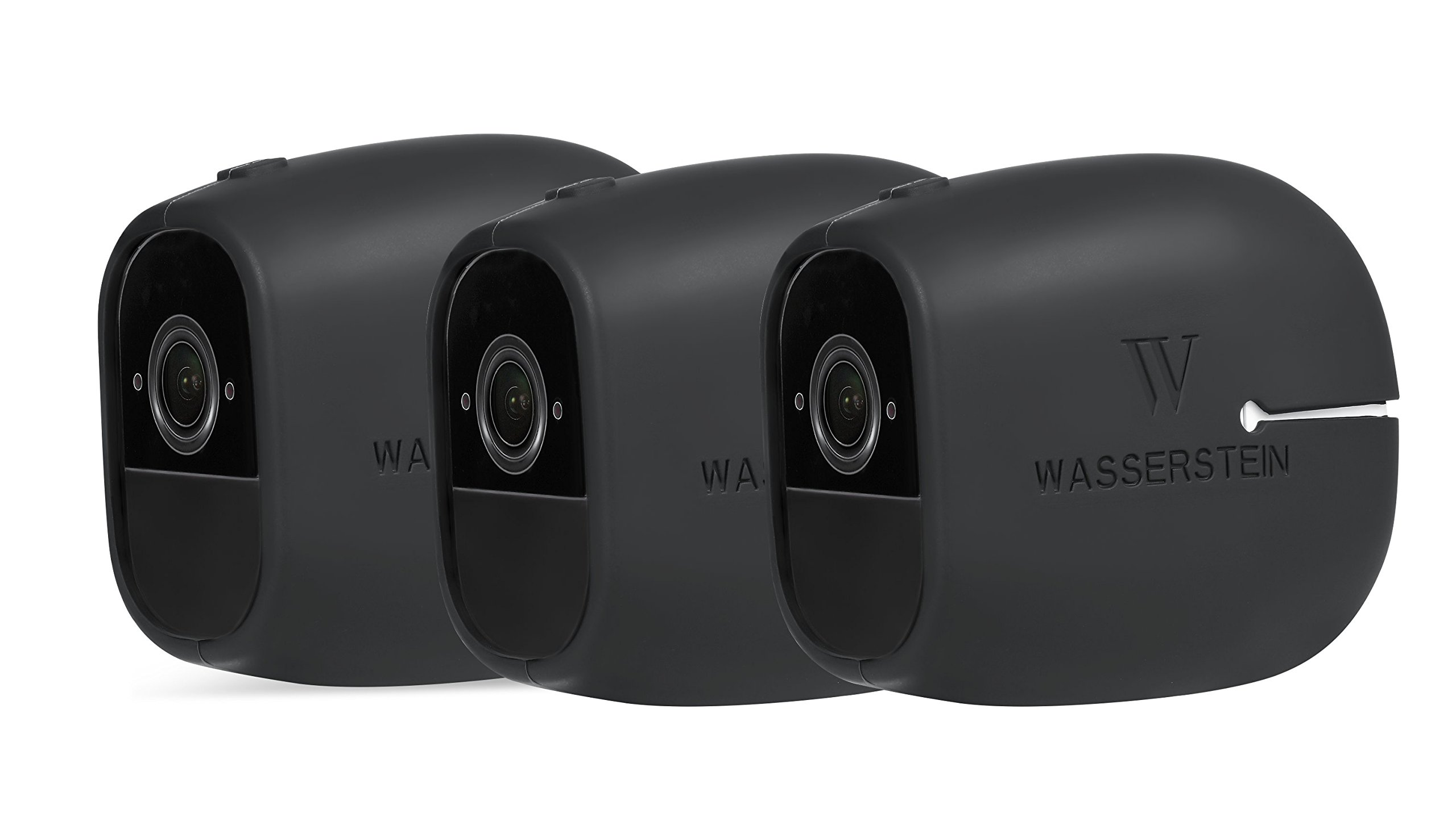 3 x Silicone Skins Compatible with Arlo Pro & Arlo Pro 2 Smart Security - 100% Wire-Free Cameras - by Wasserstein (3 Pack, Black)