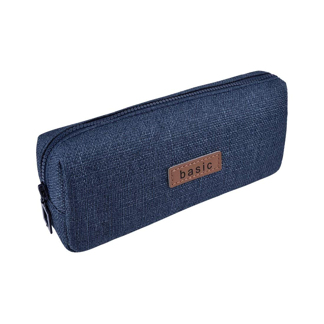 Oyachic Pencil Case Large Capacity Zipper Pen Bag Canvas Student Stationery Box Office School Supplies Coin Pouch Cosmetic Bag (Dark Blue)
