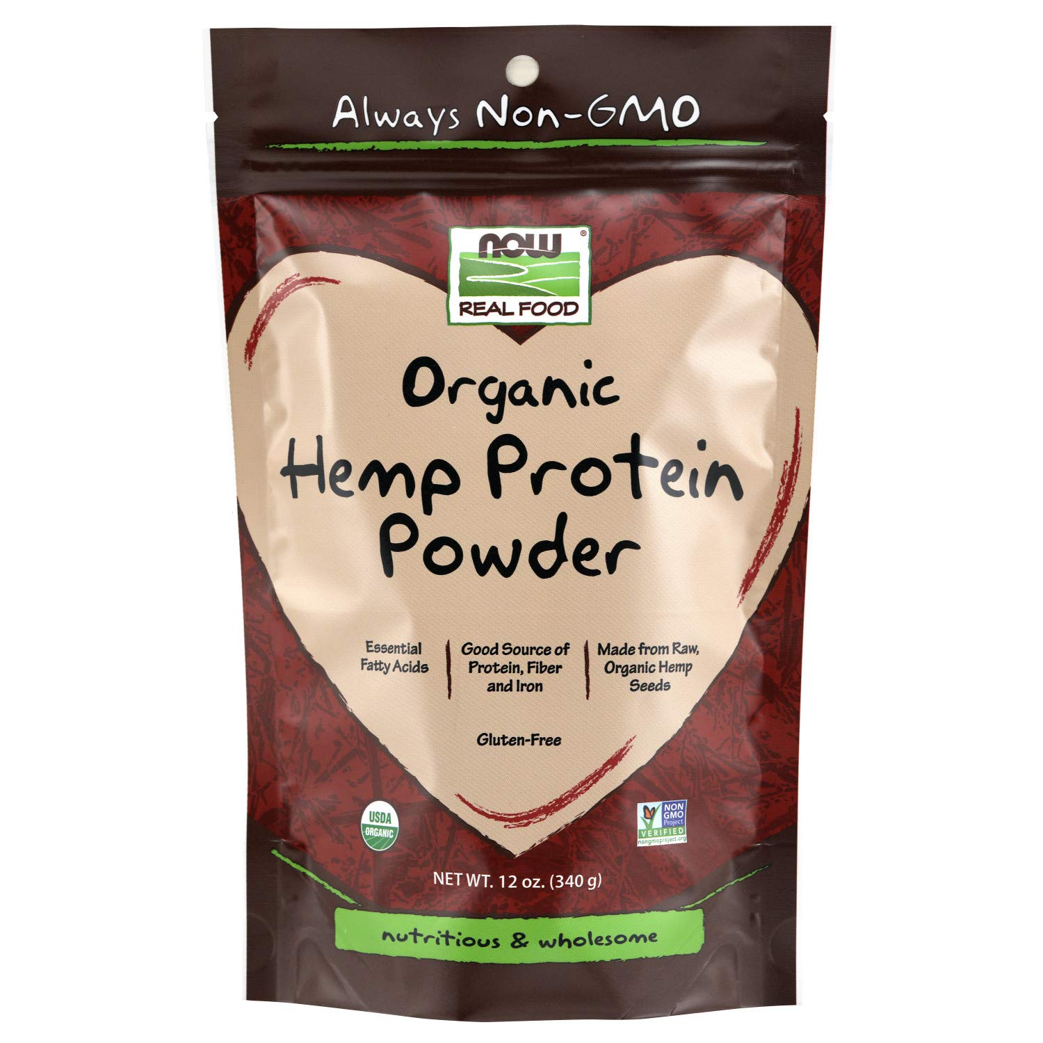 NOW Foods, Certified Organic Hemp Protein Powder, Essential Fatty Acids, Source of Protein, Fiber and Iron, From Raw Hemp Seeds, 12-Ounce