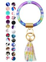 Diriway Key Ring Bracelets Wristlet Keychain Bangle Keyring Large Circle Leather Tassel Bracelet Holder For Women Gift