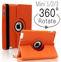 iPad Mini 1/2/3 Case - 360 Degree Rotating Stand Smart Cover Case with Auto Sleep/Wake Feature for Apple iPad Mini 1 / iPad Mini 2 / iPad Mini 3 (Orange) …