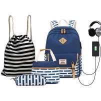 ANJUREN School Backpack USB Book Bags Pencil Case Lunch Bag Drawstring Backpack Teen Girl Boy
