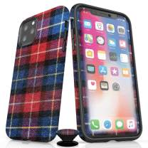 Screenflair- iPhone 11 Pro Max Accessory Bundle - Designer Drop Tested Glossy Protective Case - Shatterproof and Scratch Resistant Screen Protector - Phone Grip - Cabin Plaid Design