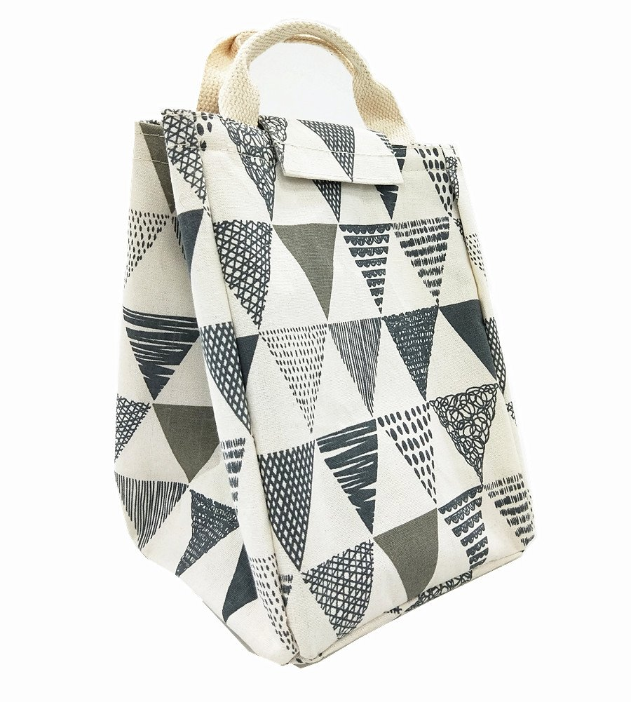 TIBAOLOVER Lunch Bag,Non-Toxic Eco-Friendly Canvas Fabric Insulated Waterproof Aluminum Foil, Lunch Box Tote for Women,Students Bento Cooler Bag for Travel and Picnic(Triangle Pattern-Grey)