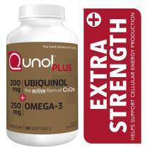 Qunol Plus Ubiquinol Coq10 200mg with Omega 3 250mg Extra Strength Antioxidant (Bovine Version), 90 Count