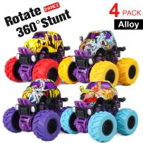 4 Pack Toy Cars, Alloy Push Car for Toddlers, Friction Powered Cars Toys for Kids, Birthday Gift for 3 4 5 6 7 8 9 Year Old Boys Kids Girls, 360 Degree Rotation, 4 Wheels Drive Push and Go Truck
