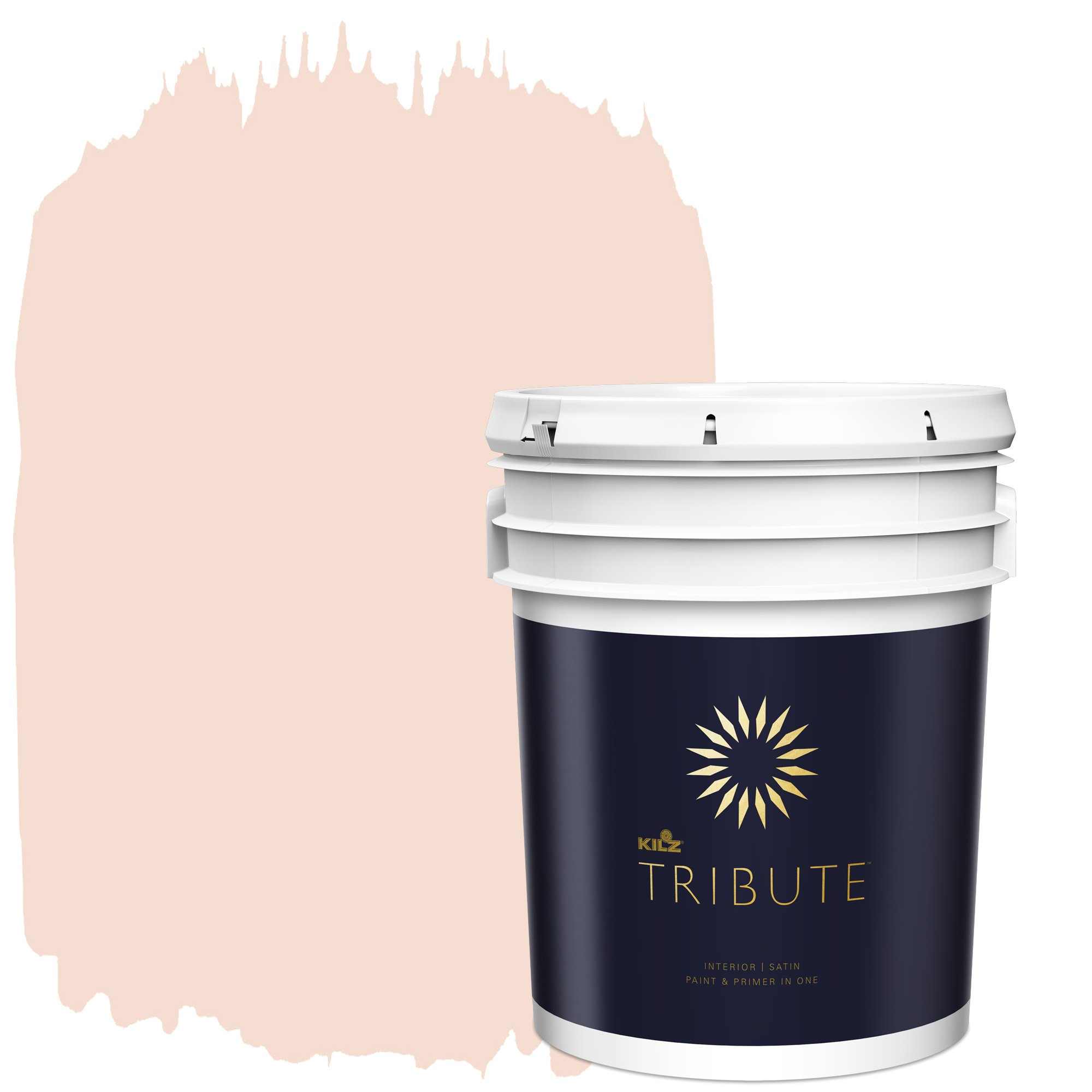 KILZ TRIBUTE Interior Satin Paint and Primer in One, 5 Gallon, Angelic Pink
