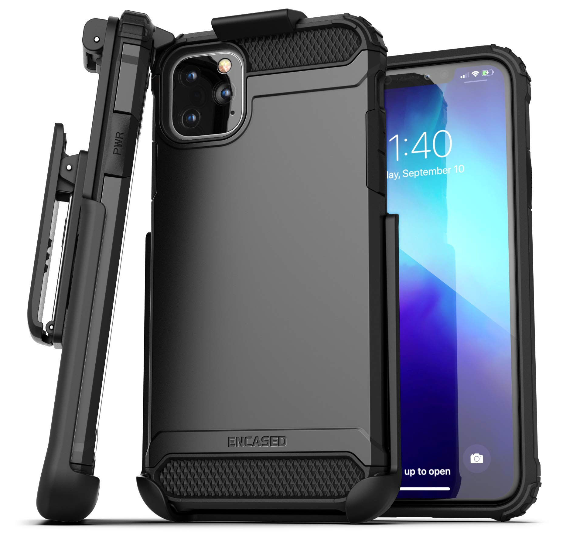 Encased iPhone 11 Pro Max Belt Clip Holster Case (2019 Scorpio Armor) Heavy Duty Rugged Protective Cover with Holder (Black)