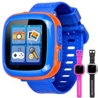 """GBD Game Smart Watch for Kids Girls Boys Toddlers Holiday Birthday Gifts Wrist Digital Watch with Pedometer 1.5"""" Touch 10 Games Alarm Clock Electronic Learning Toys (Blue)"""