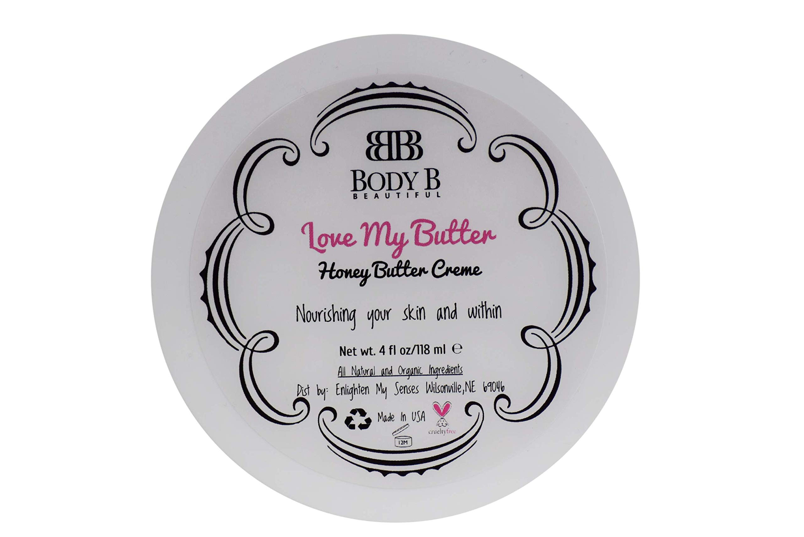 Body B Beautiful/Luxurious Honey Body Butter Creme/Lasting Hydration/Moisturizing and Nourishing with All Natural and Organic Ingredients/Cruelty Free/Made In USA