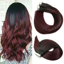 Tape In Hair Extensions Human Hair Ombre Hair 20pcs/50g Per Set Natural Black Fading to Red Double Sided Tape Skin Weft Remy Silk Straight Hair Glue in Extensions Human Hair 16 Inch
