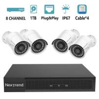 [2020] 5MP PoE Security Camera System, NexTrend 8CH 4x5MP (2592 x 1920p) HD Security Cameras, Plug&Play Security Systems with Pre-Installed 1TB Hard Drive for 7/24 Recording, Free APP & Night Vision