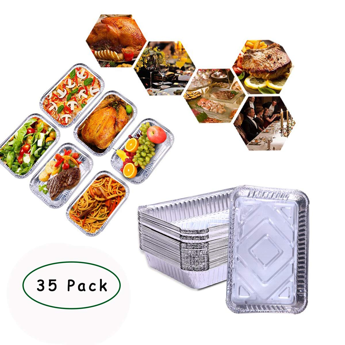 Bonaweite Disposable Aluminum Foil Steam Table Loaf Pans, Half Size Deep, Chafing Rectangular Tin Grill Accessories for Baking Roasting Broiling and Cooking Cakes Loaves Bread Lasagna(35 Pack-2200ml)