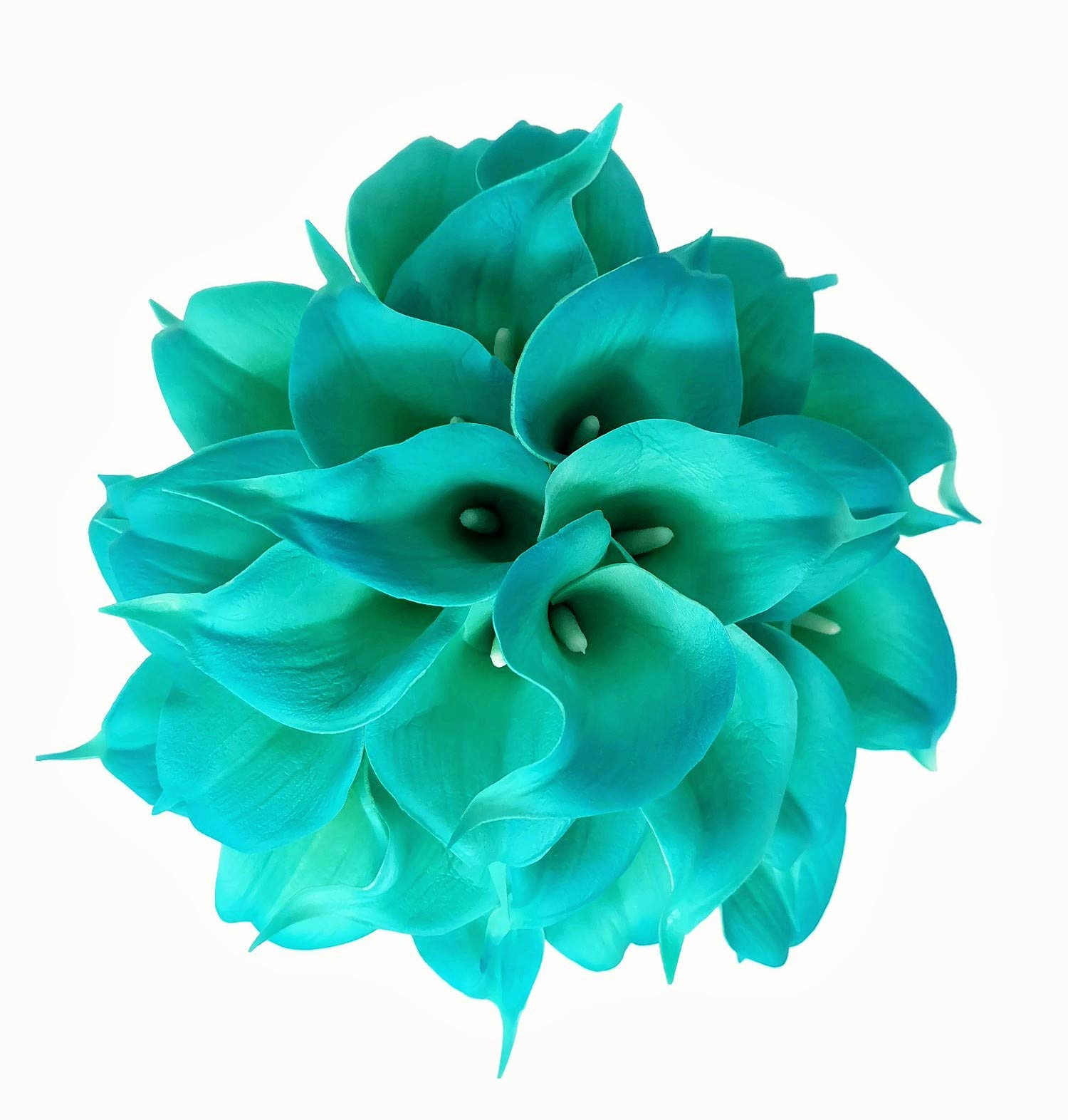 """Meide Group USA 14"""" Real Touch Latex Calla Lily Bunch Artificial Spring Flowers for Home Decor, Wedding Bouquets, and centerpieces (18 PCS) (Turquoise)"""