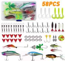 JSHANMEI Fishing Lures Set for Bass Trout Salmon, Including Spinnerbait, Spoon Lures, Soft Plastic Worms, Crankbait, Jigs, Topwater Lures Fishing Tackle Box Kit