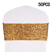 """Desirable Life Pack of 50 Stretch Sequin Chair Sashes Chair Bands One-Sided Sequins Decor for Hotel Wedding Reception Party Event Chair Cover Decoration 4""""x16"""" - Gold"""
