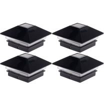 GreenLighting (4 Pack) Low Profile LED Solar Post Cap Lights for4x4 Nominal Wood Posts and 4 x 4 PVC or Vinyl Posts (Black)