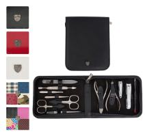 3 Swords Germany - brand quality 12 piece manicure pedicure grooming kit set for professional finger & toe nail care scissors clipper genuine leather case in gift box, Made in Solingen Germany (03867)