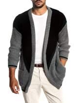 Mens Cardigan Sweaters Long Sleeve Color Blocked Long Hem Ribbed Christmas Pockets Tops