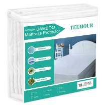"""Twin Mattress Protector Bamboo Waterproof Mattress Protector Hypoallergenic Cooling Mattress Protector for Twin Bed - Bamboo Terry Top - Fitted 8""""-21"""" Deep Pocket - Breathable, Noiseless&Vinyl Free"""