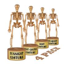ORIENTAL CHERRY Halloween Party Supplies - Golden Skeleton Trophies for Kids Costume Contest Awards Prizes - 4 Pack
