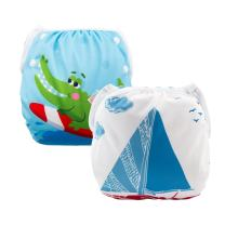 ALVABABY Swim Diapers 2pcs Reuseable Adjustable or Baby Gifts & Swimming Lessons ((Blue & Alligator, 0-2 Years) DYK39-40