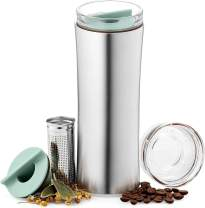 JVR 16-oz Tea Infuser Tumbler | Loose Leaf Tea Bottle With Updated Infuser | Vacuum Insulated Stainless Steel Coffee Tea Thermos | BPA-Free Leak Proof Travel Tea Mug