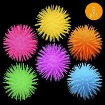 Lumistick LED Pom-Pom Ball | Squeezy Bouncy Fidget Sensory Anxiety Relief Flashing Mini Spiked Lightup Puffer Ball Toy (Assorted, 6 Pom-Pom)