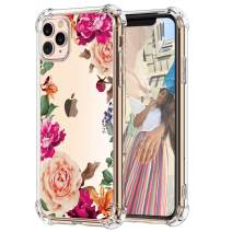"""Hepix Pink Flowers iPhone 11 Pro Case Purple Roses Floral Clear 11 Pro Cases, Slim Flexible TPU Frame with Protective Bumpers, Raised Lips Camera Protetion Anti-Scratch for iPhone 11 Pro (2019) 5.8"""""""