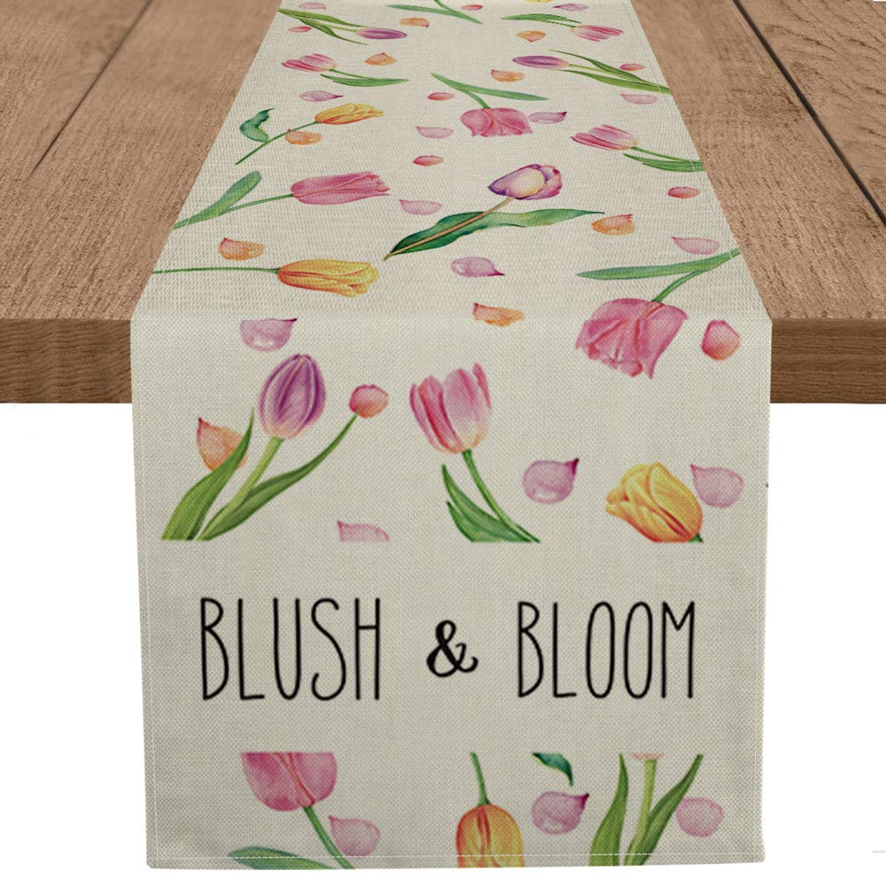 Artoid Mode Lily Flowers Blush & Bloom Table Runner, Seasonal Spring Summer Mother's Day Party Kitchen Dining Table Decorations for Home Party Decor 13 x 72 Inch