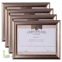 AB Amor & Belief 8.5x11 Picture Frame Silver Diploma Frame 4 Pack High-end Wide Molding Document/Certificate/License Frame for Wall Mount & Tabletop Display, Simple Design Frame Set