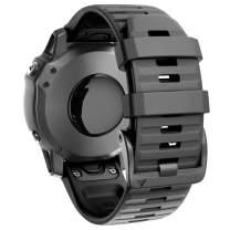ANCOOL Compatible with Fenix 6 Bands 22MM Easy-fit Soft Silicone Watch Band Replacement for Fenix 6/Fenix 6 Pro/Fenix 5/Fenix 5Plus Smartwatches, Black