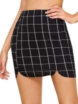 WDIRARA Women's High Waist A-Line Zipper Front Short Slim Fit Plaid Skirt