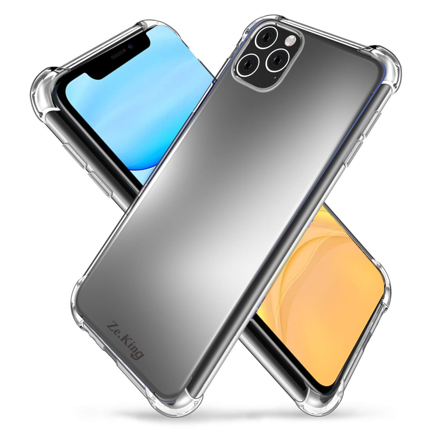 ZeKing iPhone 11 6.1'' Case Crystal Clear Soft Silicone TPU with Four Corner Bumper Protective Case Cover for iPhone 11 6.1'' (2019)(Transparent)