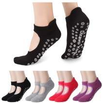 4 Pairs Yoga Socks for Women Non-Slip Grips Anti-Skid Pilates, Barre, Bikram Fitness Socks Size 5-10