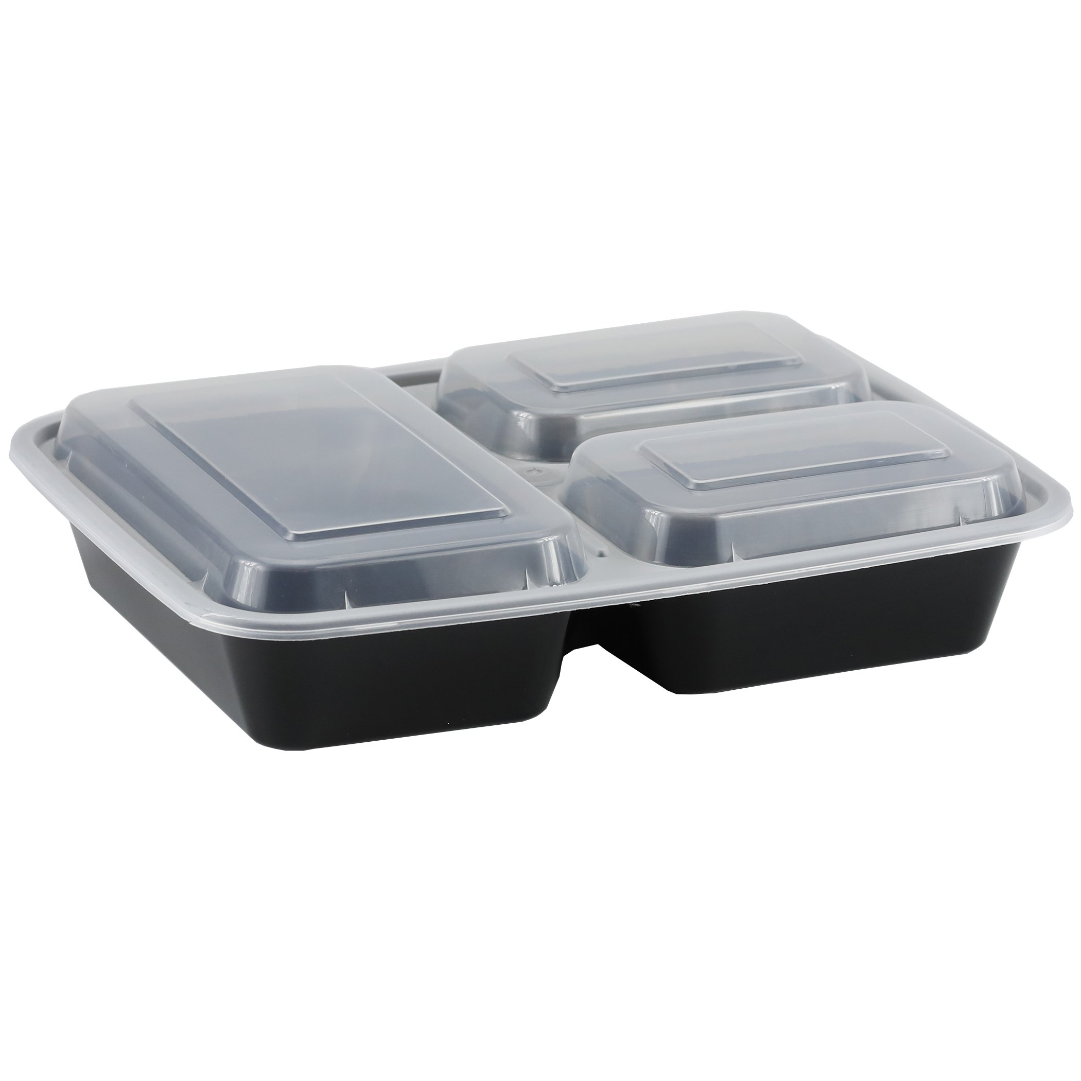 Simply Deliver Rectangular 3-Compartment Container with Lid, Microwavable, Black, 150-Count
