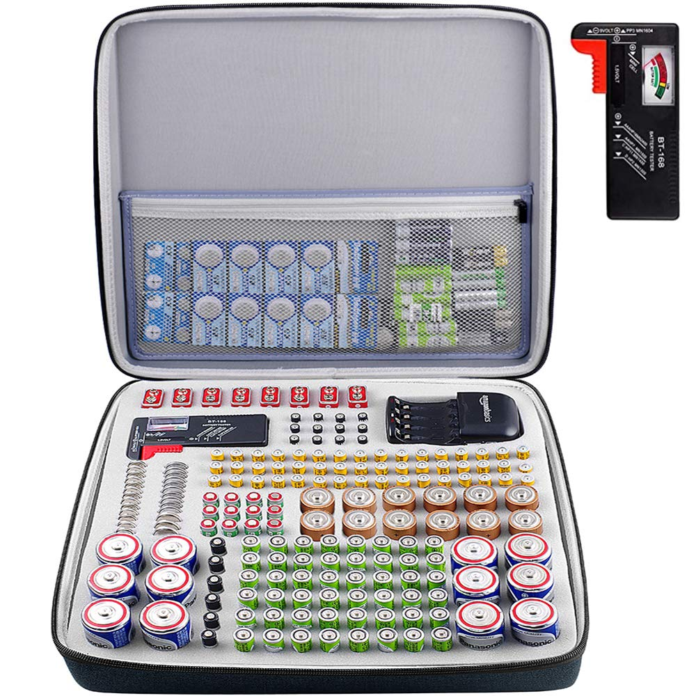 Battery Organizer Storage Case with Tester(BT168), 250+ Batteries Box Holder Bag fits for AA AAA AAAA 9V 6V C D Lithium 3V A23 CR 2032,CR 2016,CR 1632, CR 2025 Ni-MH Charge