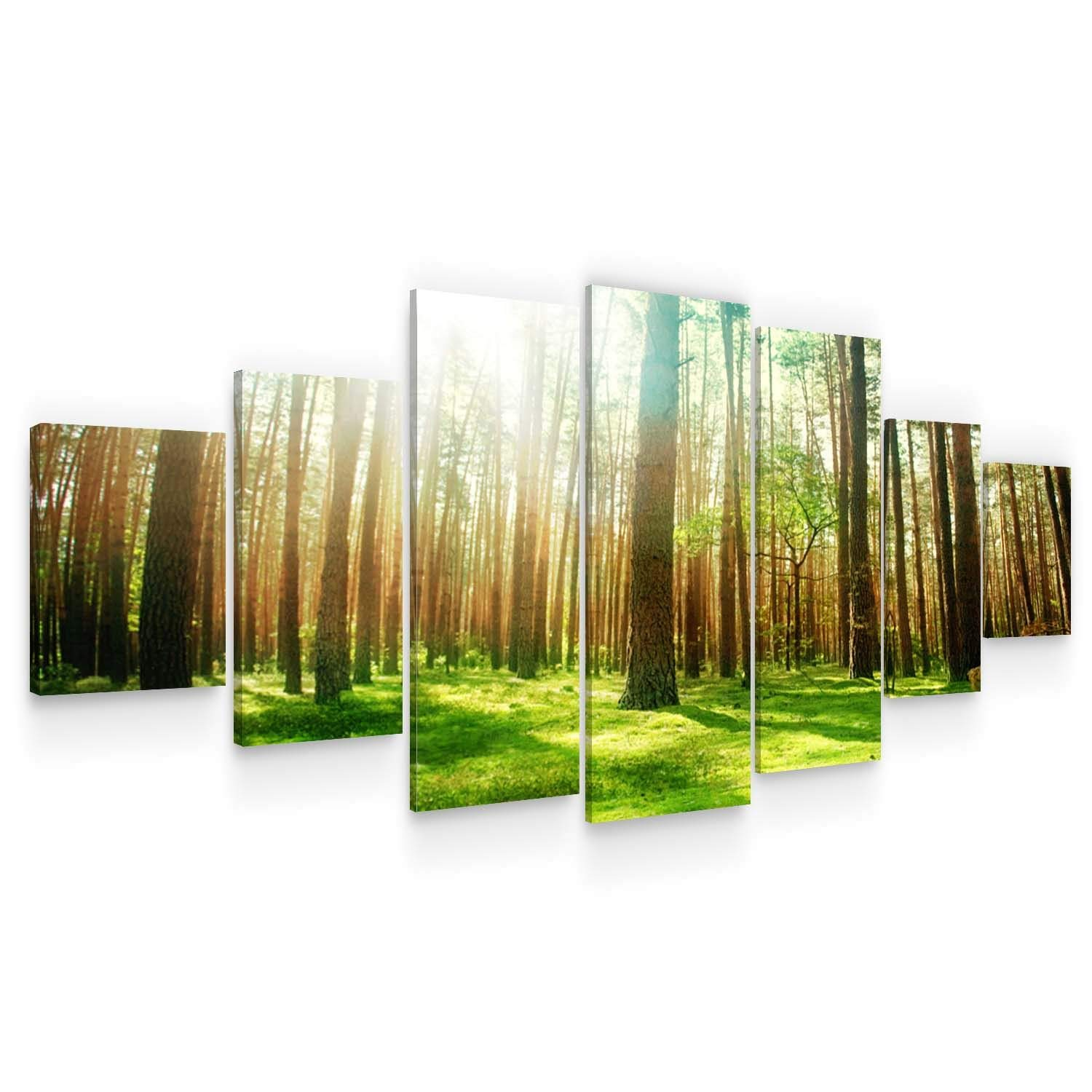 STARTONIGHT Large Canvas Wall Art Nature - Spring in The Woods - Huge Framed Modern Set of 7 Panels 40 x 95 Inches