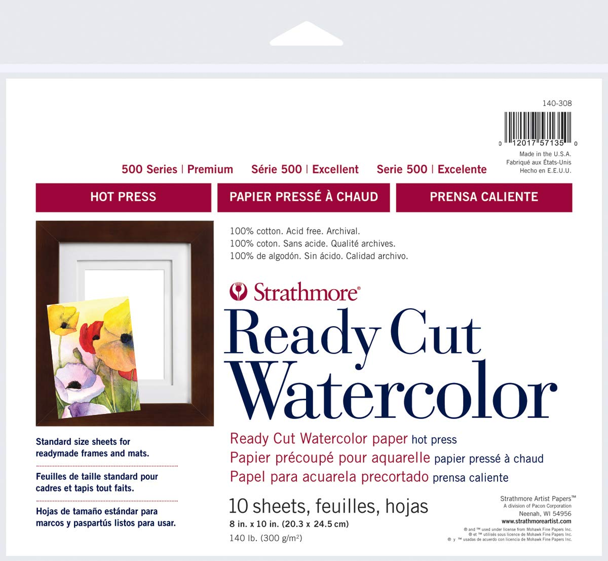 """Strathmore 140-308 Ready Cut Watercolor, 8"""" x 10', Multicolor, 10 Sheets"""