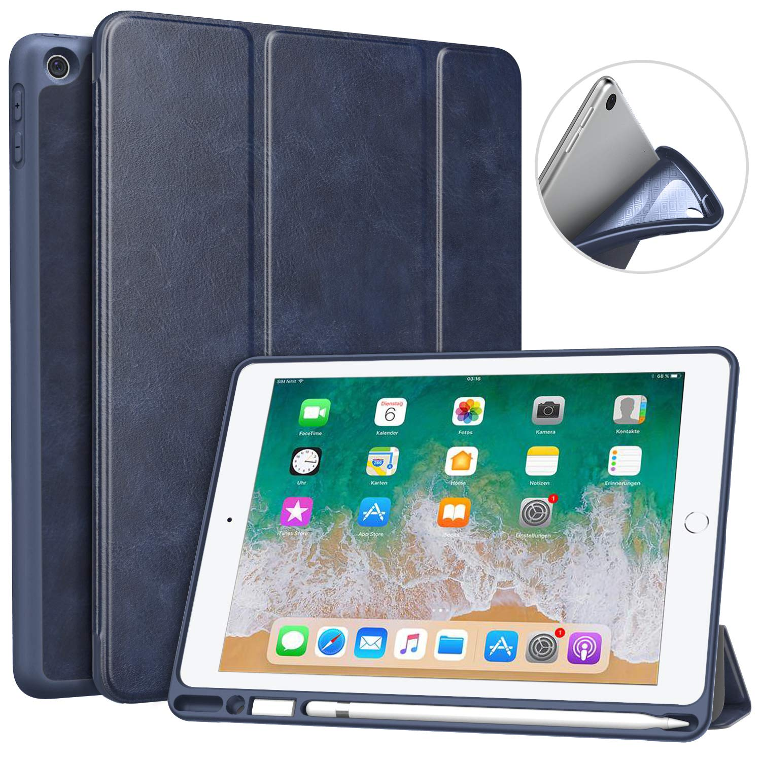 """MoKo Case Fit 2018 iPad 9.7 6th Generation with Pencil Holder - Slim Lightweight Smart Shell Stand Cover Case with Auto Wake/Sleep Fit iPad 9.7"""" 2018 Released Tablet (A1893/A1954), Indigo"""