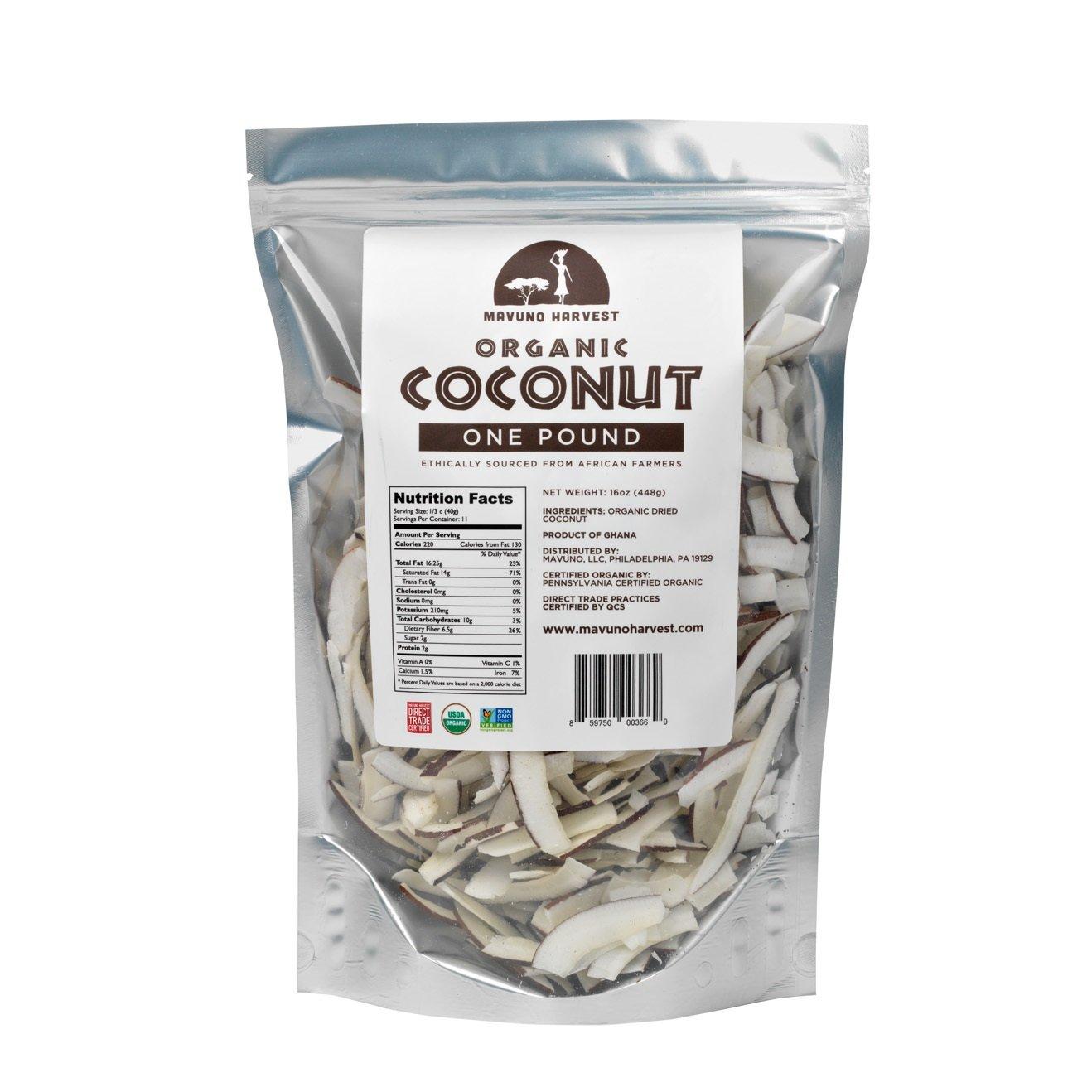 Mavuno Harvest Direct Trade Organic Dried Fruit, Coconut, 1 Pound