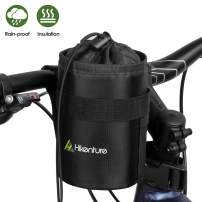 Hikenture Bike Water Bottle Holder Bag - Waterproof Cup Holder Bike Bag - Insulated Water Bottle Carrier with Side Pockets & Straps - Anti-Tear Drink Holder for Bicycle,Motorcycle,Pushchair,Wheelchair