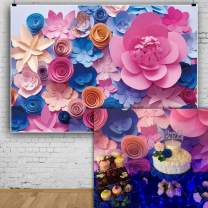 AOFOTO 6X4ft Pretty Colorful Paper Flower Backdrops Birthday Party Decoration Photography Background Baby Shower Kid Girl Mother Artistic Portrait Event Photo Studio Props Video Drop Vinyl Wallpaper