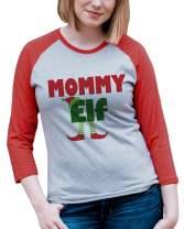 7 ate 9 Apparel Womens Mommy Elf Christmas Raglan