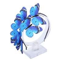 AWAYTR Girl Butterfly Fancy Fairy Headband Boho Chic Cloth Art Costume Party Tiara Crown Prop Hair Band Hoop Headband (Navy Blue)